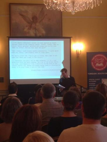 Addressing a sold-out audience at the International Agatha Christie Festival